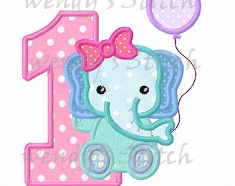 Girl elephant birthday applique number 1 machine embroidery design instant download