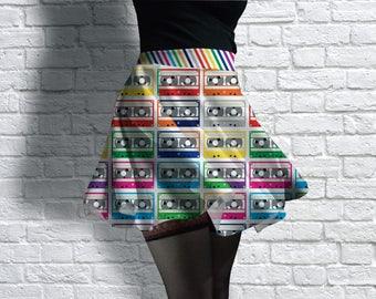 Funky Cassette Tapes Scuba Skater Skirt
