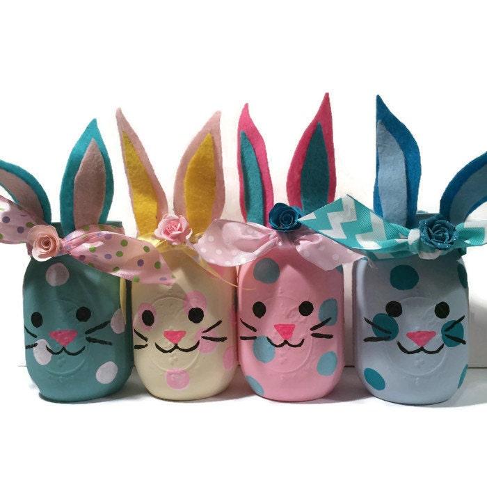 Bunny mason jars bunny jars bunny home decor bunny nursery zoom negle Gallery