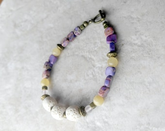 Essential oil diffuser Bracelet, lava bead bracelet, white and purple, jasper bracelet, mothers day gift, stackable bracelet, gift for her