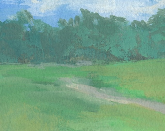 watercolor landscape painting / original painting / small landscape painting / plein air