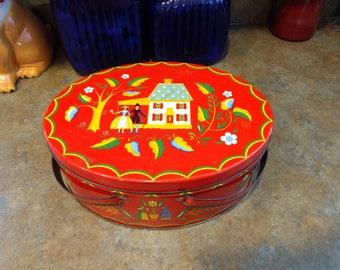 Vintage Red oval Pennsylvania Dutch Amish motif Tin sewing basket 1950s, decorative storage