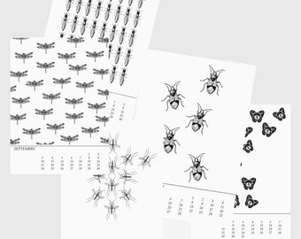 """Perpetual wall calendar """"Insects"""""""