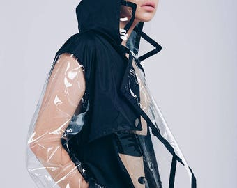 Transparent raincoat for woman / black raincoat with a pocket for mobile phone/ raincoat with a hiden hood/ woman raincoat Icoat