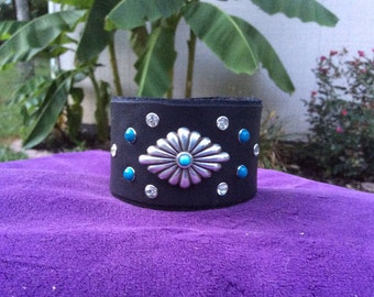 Black Leather Cuff with Turquoise and Rhinestones