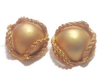 Vintage Large Goldtone Dome Clip Earrings