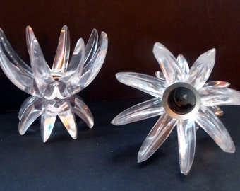 Pair of Collectable Mid Century 1960s Sputnik Style Plastic or Lucite Candlestick / Candle Holders. German Freidel