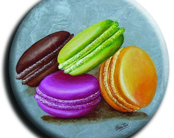 Magnet magnet depicting 4 macaroons on a gray background in 38 mm