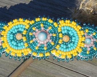 Turquoise Yellow, Handmade Beaded Hair Barrette, Native Inspired Rosette beaded barrette clip, Boho Gypsy Hippie Beaded Hair