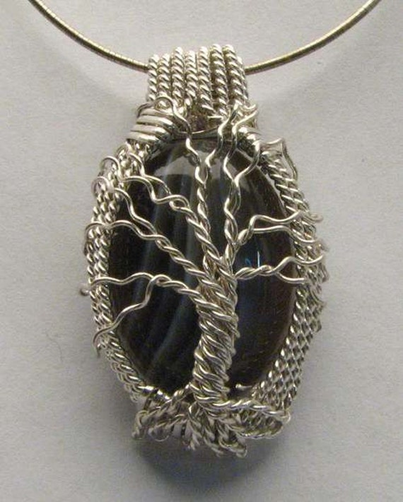 Handmade Solid Sterling Silver Wire Wrap Family Tree Botswana Agate Pendant
