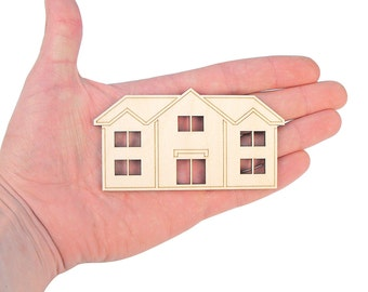 Wooden House (10cm) Shape With Windows Cut Gift Art Craft Ideas Decoration Ambellishments MG000051