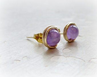 Amethyst Stud Earrings, Gold Stud Earrings, February Birthstone, Purple Earrings, Gemstone Studs, Small Gold Earrings, Amethyst Earrings