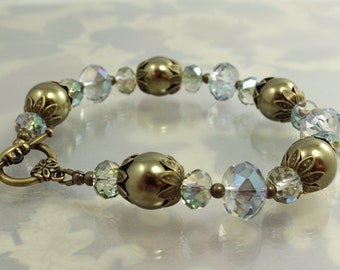 Pearl and Crystal Bracelet, Golden Olive Pearl and Mystic Teal Crystal