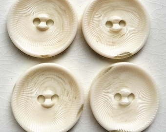 eco friendly creamy white mocha textured large swirling buttons--matching lot of 4
