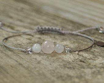 Moonstone, Rose Quartz, Clear Quartz, Love Meditation Bracelet, Good Luck, Minimalist Jewelry, Hypoallergenic, Yoga Bracelet