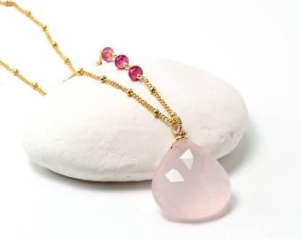 Rose Quartz necklace, Rose Quartz Pink Tourmaline Pendant, Rose Quartz Layering Necklace Gold filled, Gift for Mom, Valentine Gift