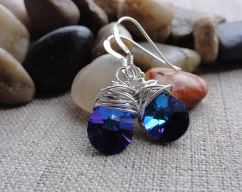 Women's Handmade Fashion Jewelry 925 Sterling Silver Chunky Wire Wrapped Swarovski Crystal Heliotrope Dangle Drop Earrings Gift For Her