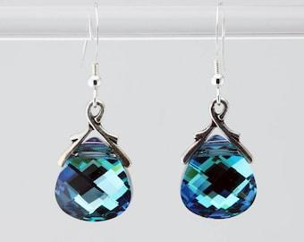 Large Shimmery Swarovski Turquoise Teardrop Earrings
