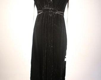 1970s Black Velvet V-Neck Dress