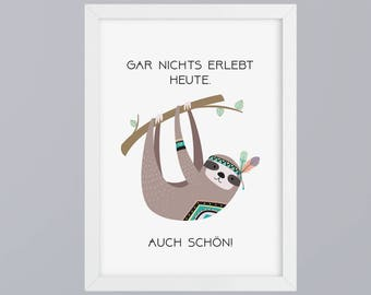 Tribal-sloth - unframed art print