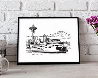 Seattle Space Needle poster art, Seattle poster, Gift poster, Seattle wall art, Space Needle print, Seattle print, Seattle decor