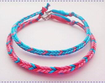Handmade Bright Color Pink & Blue Friendship Bracelet Couple Bracelets Set of 2
