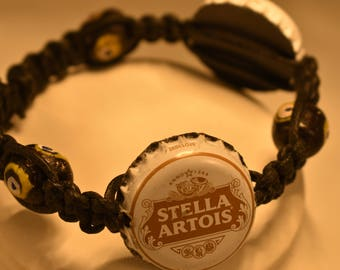 Beer Cap- Stella Artois, Glass Bead and Bone Bead Adjustable Bracelet