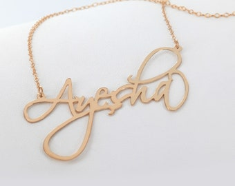 Customized Rose Gold over Sterling Silver Signature Name Necklace