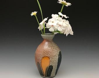 Bud Vase - Small Vase - Weed Pot - Soda Fired Pottery - Ceramic Vase - Tokyo Pattern - Ron Philbeck