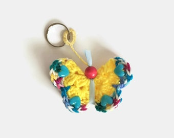 Butterfly Keychain, Yellow and Blue Crochet Butterfly Bag Charm, Soft Butterfly Zipper Pull, Spring Butterfly Key Ring, Colorful Butterfly