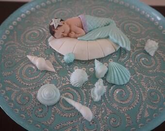 Baby Mermaid Cake Topper, Fondant Mermaid, Mermaid Baby Shower