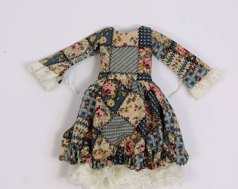Dress for tiny BJD, slim YoSD, Pip, Runa, Nefer Kane Mystery and other small dolls, cotton with fake patchwork print