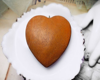 Vintage Heart Pendant | 1 Wood Pendant | Assemblage Jewelry Supply | 56mm | Honey Brown Romantic Organic Heart Pendant | 1970s Heart