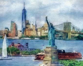 New York City, NYC Skyline, Statue of Liberty, One World Trade Center, Ellis Island, Brooklyn Bridge, Collage, New York Print, Cityscape,