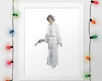 PRINCESS LEIA PRINT, Princess Leia, Star Wars, Star Wars Leia, Force Awakens, Leia Watercolor, Star Wars Poster, Star Wars Art, Digital