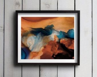"Abstract Watercolor Giclée Fine Art Print - Blue Orange Watercolor - Original Design - Fine Art - Home Decor - Koi ""B"" - 8x10 - 11x14"