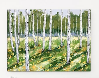 Colorado art, Aspen tree painting, Birch Tree art, Palette knife, Forest painting, Oil Painting, Landscape art, Tree painting, Birch Decor