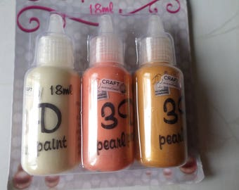 mixed 3 bottles of paint 3D effect x Pearl Pearlescent 3 different colors