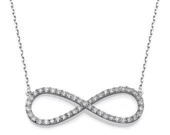 Infinity Diamond Pendant - White Gold Infinity Diamond Necklace, 0.44ct Diamond Necklace, 14/18k White gold Chain