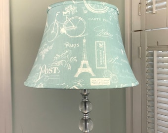 French Lamp Shade, French Country Lamp Shade, Eiffel Tower Lamp Shade, Aqua  Lamp