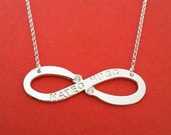 Diamond infinity necklace infinity diamond necklace infinity necklace with diamonds engraved infinity necklace