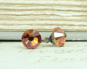 Copper Stud Earring Copper Crystal Stud Earrings Hypoallergenic Copper Earrings Copper Crystal Jewelry