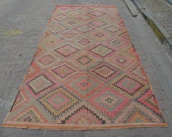 5.6x11 Ft Vintage handwoven embroidered decorative Turkish kilim rug