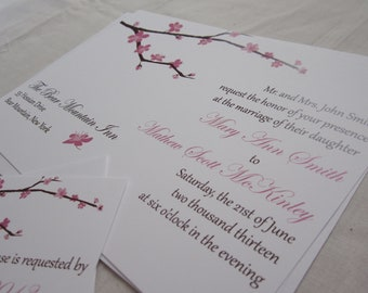 Cherry Blossom Wedding Invitation - Printable Files