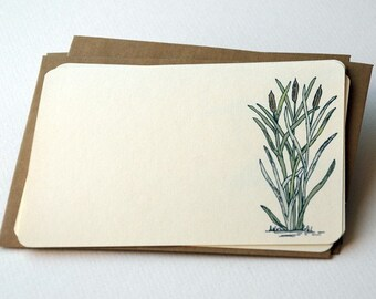 The Cattails Notecards in Cream, Green, and Brown - Set of 6 flat Notecards and Kraft Envelopes