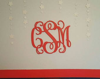 Nursery Decor - Unpainted Wood Monogram Wall Hanging - Monogram Door Hanger - Wedding Monogram - Nursery Monogram - Wooden Initials