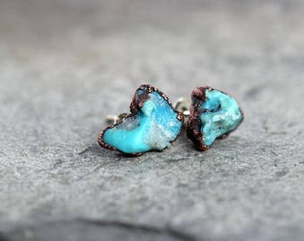 Turquoise Earrings - Bright Blue Stone Posts - Sterling Silver Studs - Electroformed Stone