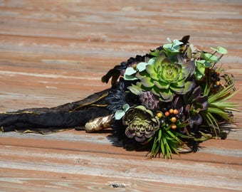 Succulent Bouquet. Succulent Wedding Bouquet. Bronze and Black Bouquet. Artificial Flowers. Rustic Bouquet. Woodland Wedding.