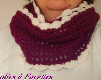 Purple mittens and snood set long and ecru crochet