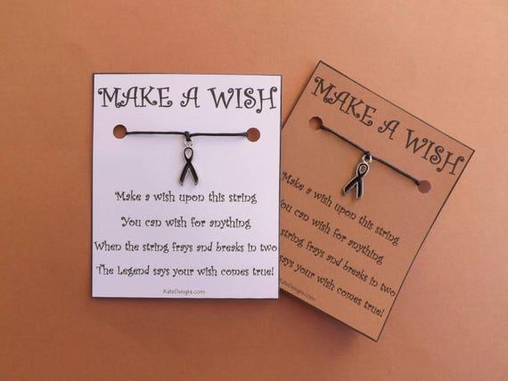 Black Awareness Ribbon Charity Wish Bracelet